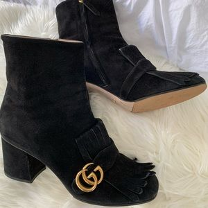 Gucci GG Marmont black suede fringe booties 40 1/2